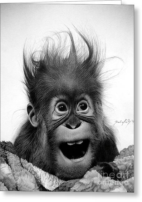 Orangutan Drawings Greeting Cards - Dont panic Greeting Card by Miro Gradinscak