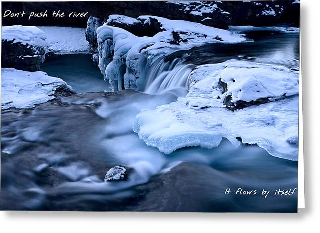 Alberta Water Falls Greeting Cards - Dont push the river it flows by itself Greeting Card by Mark Duffy