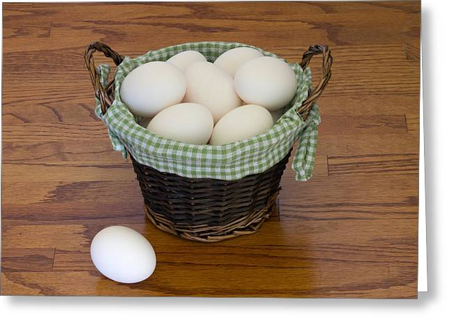 Affordable Kitchen Art Greeting Cards - Dont Put All Your Eggs In One Basket Greeting Card by Kim Hojnacki