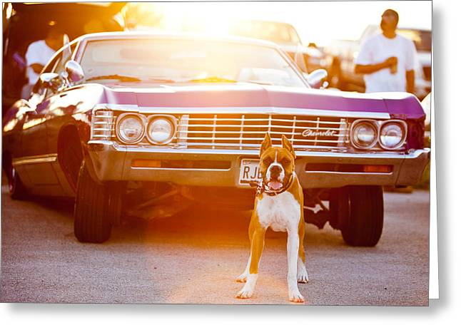 Purple V8 Greeting Cards - Dont Touch My Ride Greeting Card by Melinda Ledsome