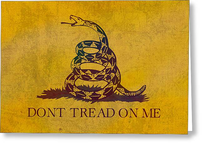 Tea Party Greeting Cards - Dont Tread on Me Gadsden Flag Patriotic Emblem on Worn Distressed Yellowed Parchment Greeting Card by Design Turnpike
