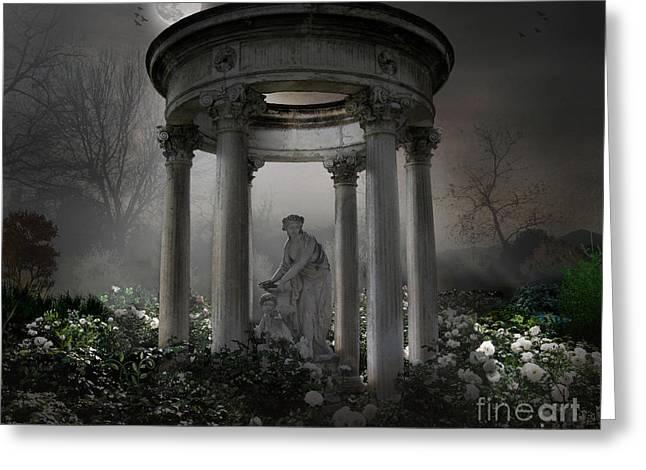 Don't Wake Up My Sleepy White Roses - Moonlight Version Greeting Card by Bedros Awak