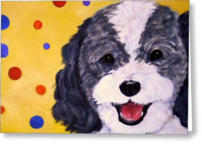 Doggie Art Greeting Cards - Doodle Greeting Card by Debi Starr