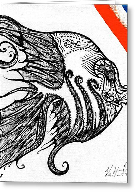 Tropical Fish Greeting Cards - Doodle eye. Greeting Card by Keith Harkin