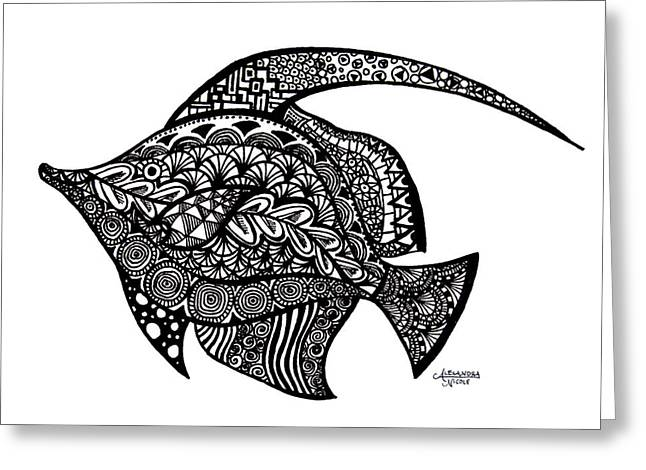 Reef Fish Drawings Greeting Cards - Doodle Fish Greeting Card by Alexandra Nicole Newton