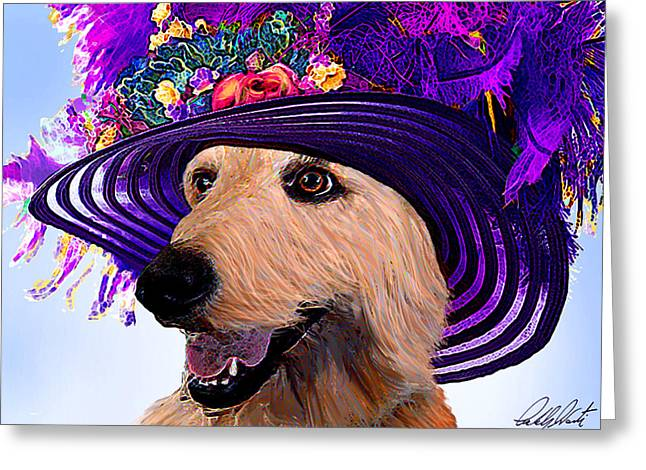 Retriever Prints Digital Art Greeting Cards - Doodle To The Derby Greeting Card by Michele  Avanti