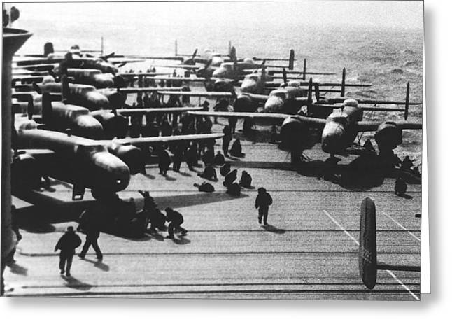 Doolittle's Raider Planes Greeting Card by Underwood Archives