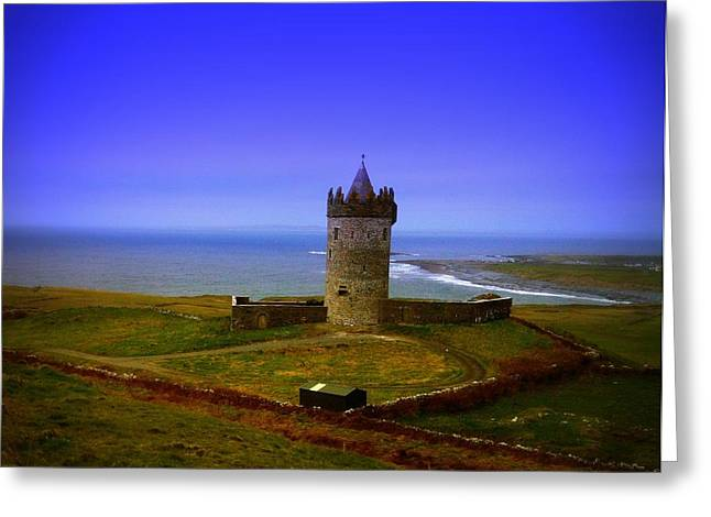 Fall Grass Pyrography Greeting Cards - Doonagore Castle - Co. Clare - Ireland Greeting Card by Ilona Asaciova