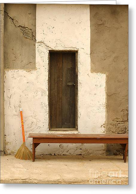 Movie Prop Greeting Cards - Door and Broomstick Greeting Card by Micah May