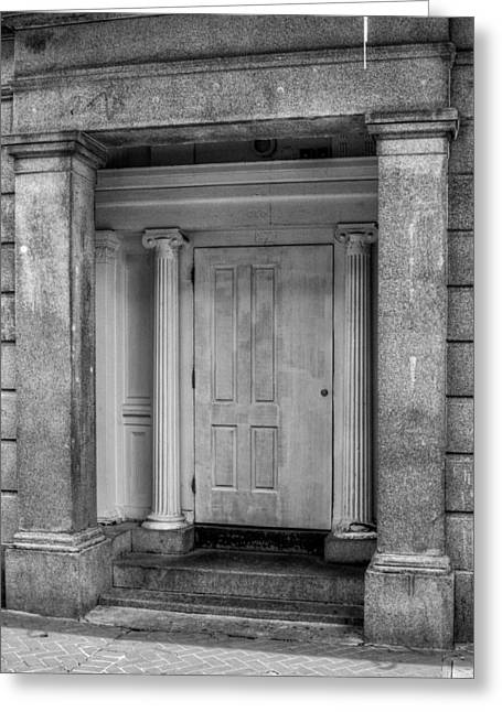 French Doors Greeting Cards - Door and Columns in Black and White Greeting Card by Chrystal Mimbs