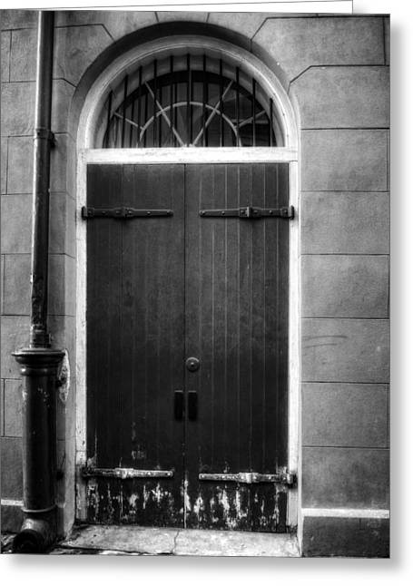 French Door Greeting Cards - Door And Pipe in Black and White Greeting Card by Chrystal Mimbs