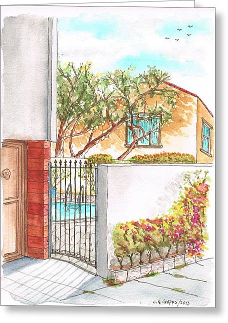 Ocre Greeting Cards - Door and pool in Horn Drive - Hollywood Hills - California Greeting Card by Carlos G Groppa