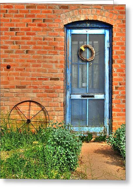 Screen Doors Greeting Cards - Door and Wheel Greeting Card by Tam Ryan