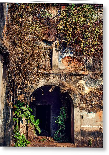 Door At Old Portuguese House. Goa. India Greeting Card by Jenny Rainbow
