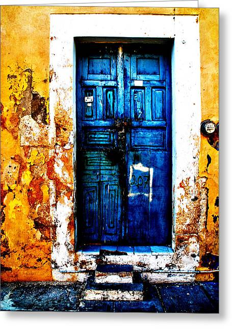 Fine Art Photography Pyrography Greeting Cards - Door Greeting Card by Baptiste Riethmann