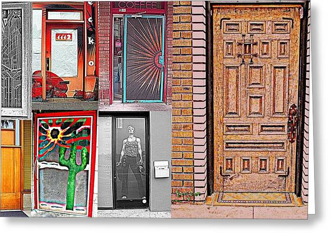 Screen Doors Greeting Cards -  Abbot Kinney Door Collage Greeting Card by Alvin Glass
