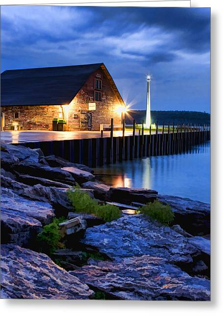 Door County Greeting Cards - Door County Anderson Dock Twilight Greeting Card by Christopher Arndt