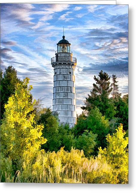 Chicago Paintings Greeting Cards - Door County Cana Island Beacon Greeting Card by Christopher Arndt