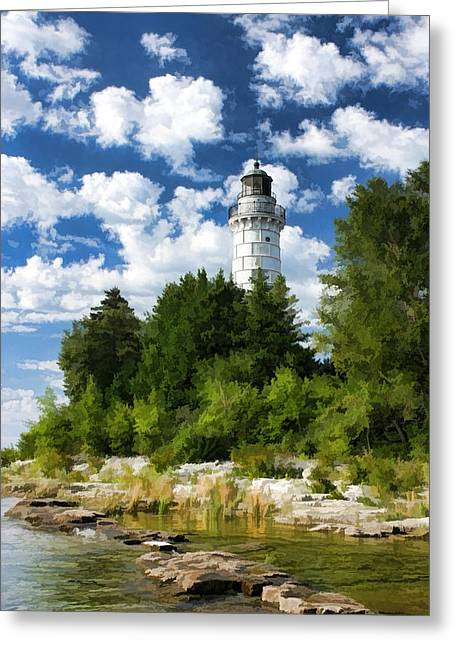 Cana Island Lighthouse Cloudscape In Door County Greeting Card by Christopher Arndt