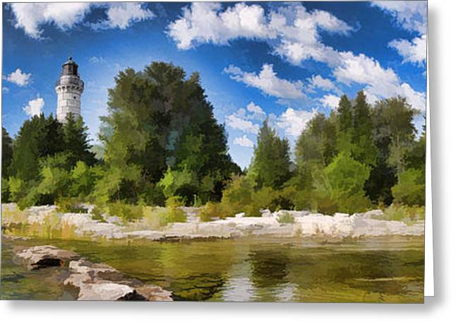 Puffy Greeting Cards - Door County Cana Island Lighthouse Panorama Greeting Card by Christopher Arndt