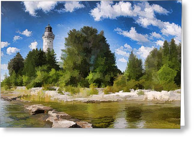 Door County Cana Island Lighthouse Panorama Greeting Card by Christopher Arndt