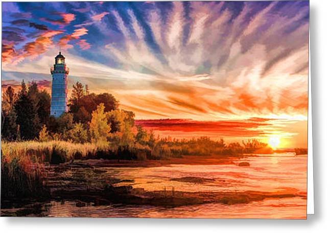 Door County Greeting Cards - Door County Cana Island Lighthouse Sunrise Panorama Greeting Card by Christopher Arndt