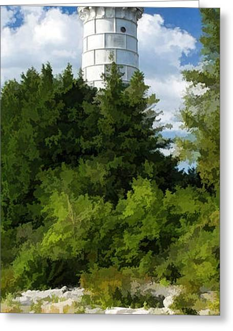 Fresnel Greeting Cards - Door County Cana Island Vertical Panorama Greeting Card by Christopher Arndt