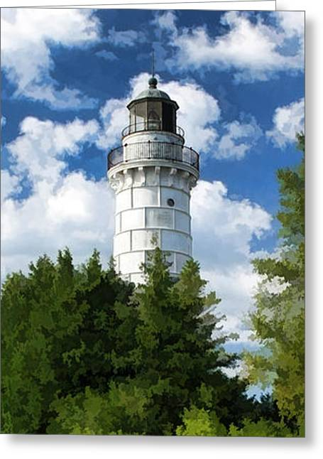 Door County Cana Island Vertical Panorama Greeting Card by Christopher Arndt
