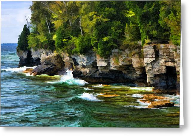Caves Photographs Greeting Cards - Door County Cave Point Cliffs Greeting Card by Christopher Arndt