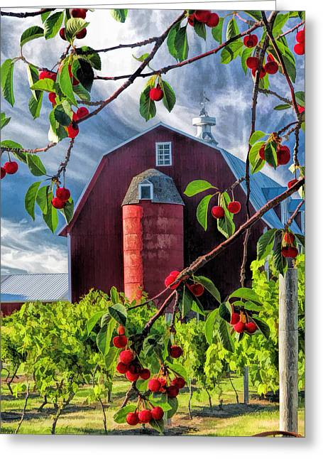 Barn Door Paintings Greeting Cards - Door County Cherry Harvest Red Barn Greeting Card by Christopher Arndt
