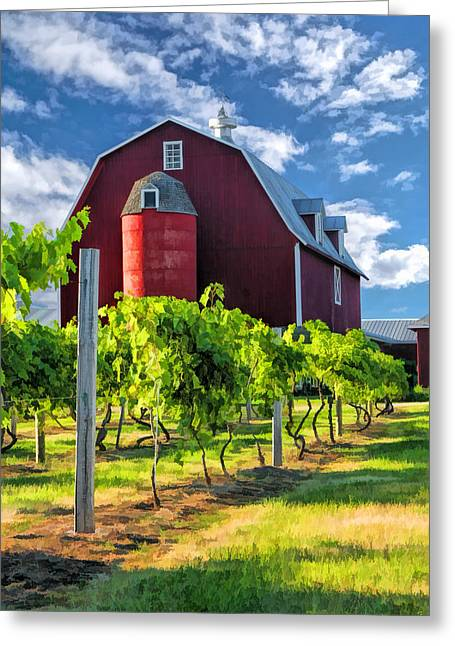 Door County Greeting Cards - Door County Cherry Orchard and Vineyard Greeting Card by Christopher Arndt