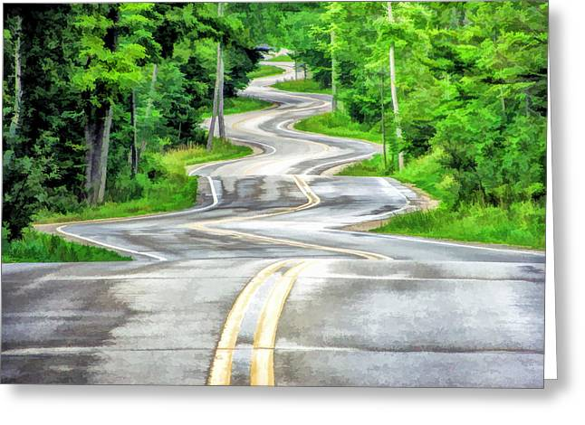 Jensen Greeting Cards - Door County Curvy Road to Northport Along Highway 42 Greeting Card by Christopher Arndt