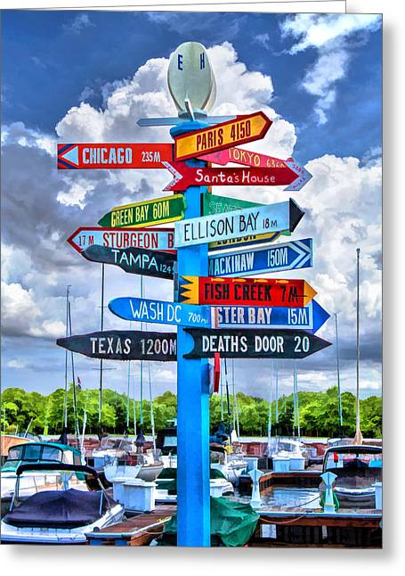 Christina Greeting Cards - Door County Directional Sign in Egg Harbor Greeting Card by Christopher Arndt