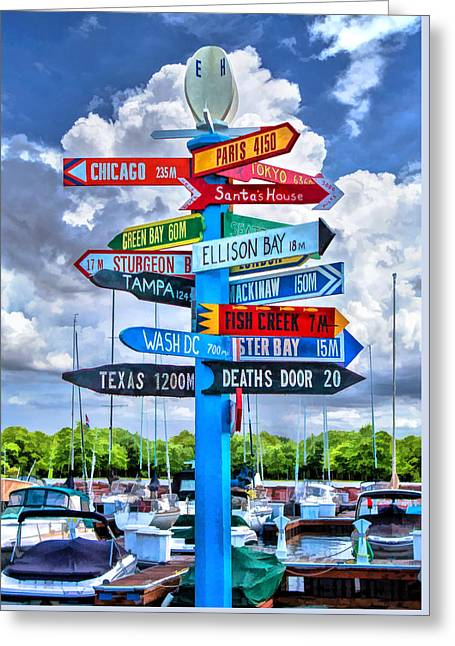 Distance Greeting Cards - Door County Directional Sign in Egg Harbor Greeting Card by Christopher Arndt