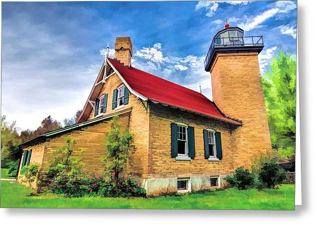 Wisconsin State Parks Greeting Cards - Door County Eagle Bluff Lighthouse Greeting Card by Christopher Arndt