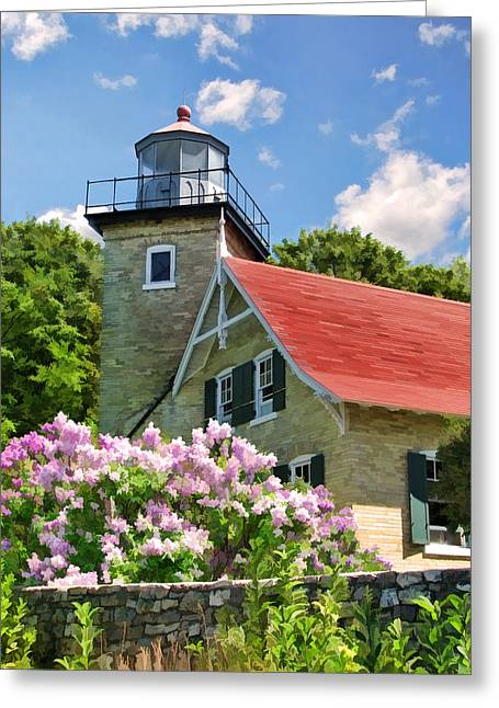 Lilac Greeting Cards - Door County Eagle Bluff Lighthouse Lilacs Greeting Card by Christopher Arndt