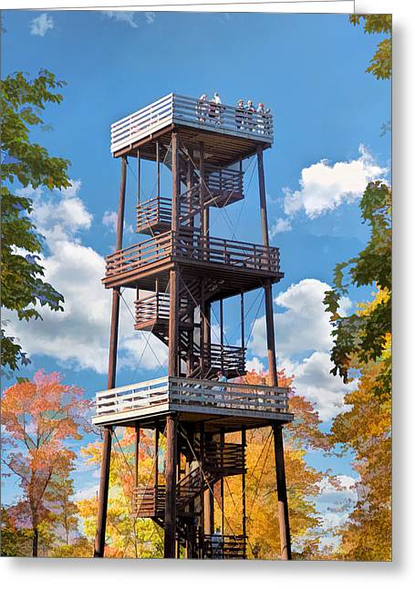 Observation Greeting Cards - Door County Eagle Tower Peninsula State Park Greeting Card by Christopher Arndt