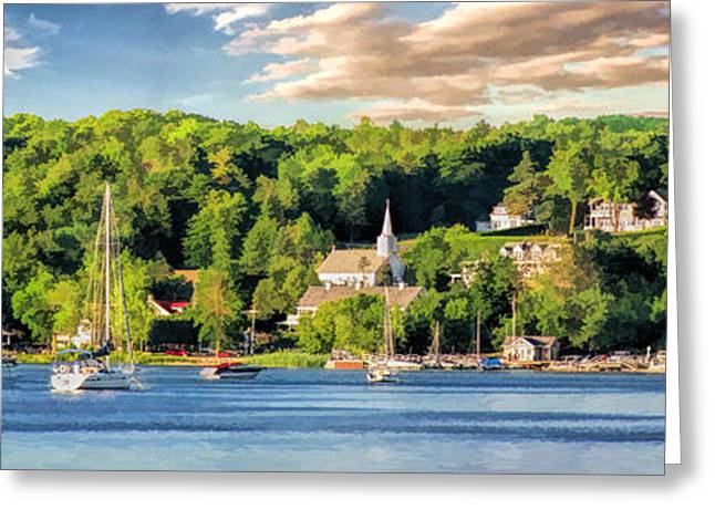 Door County Greeting Cards - Door County Ephraim Harbor Sunset  Panorama Greeting Card by Christopher Arndt