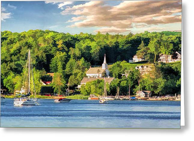 Door County Ephraim Harbor Sunset  Panorama Greeting Card by Christopher Arndt