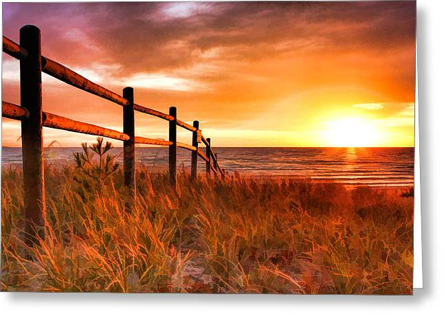 Chicago Paintings Greeting Cards - Door County Europe Bay Fence Sunrise Greeting Card by Christopher Arndt