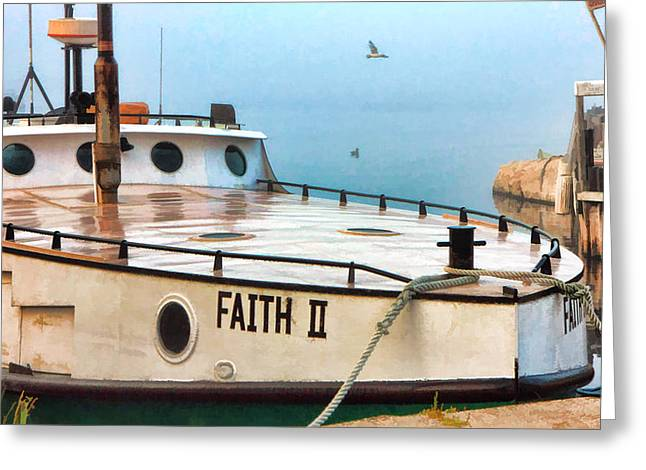 Fishing Trawler Greeting Cards - Door County Gills Rock Faith II Fishing Trawler Greeting Card by Christopher Arndt