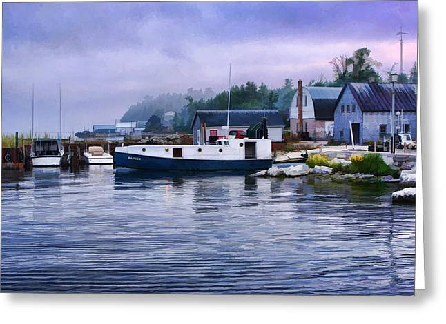 Fishing Boats Greeting Cards - Door County Gills Rock Fishing Village Greeting Card by Christopher Arndt