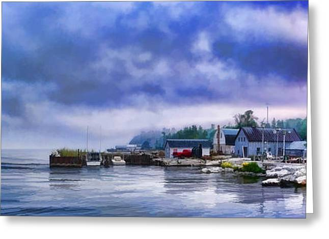 Fishing Village Greeting Cards - Door County Gills Rock Morning Catch Panorama Greeting Card by Christopher Arndt