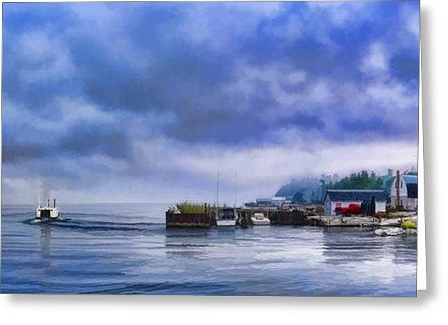 Sleepy Greeting Cards - Door County Gills Rock Morning Catch Panorama Greeting Card by Christopher Arndt