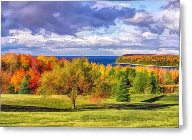 Fall Panorama Greeting Cards - Door County Grand View Scenic Overlook Panorama Greeting Card by Christopher Arndt
