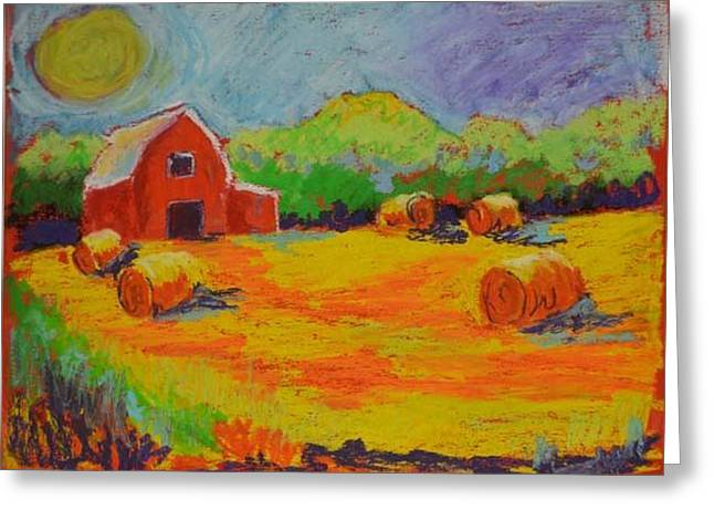 Haybales Pastels Greeting Cards - Door County Harvest Greeting Card by Pat Olson