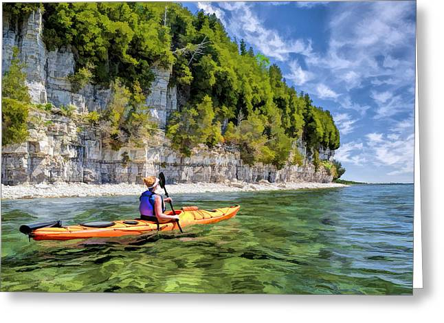 Wisconsin State Parks Greeting Cards - Door County Kayaking Around Rock Island State Park Greeting Card by Christopher Arndt
