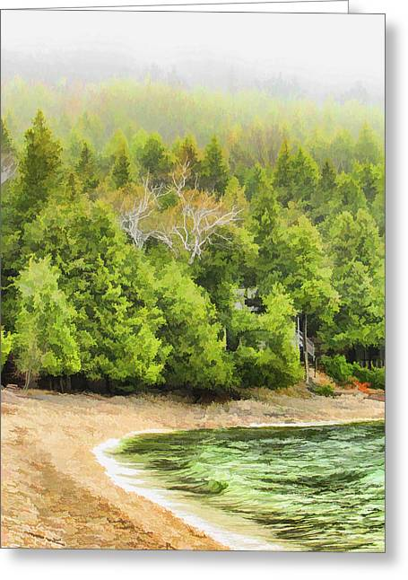 Foggy Beach Greeting Cards - Door County Pebble Beach Foggy Morning Greeting Card by Christopher Arndt