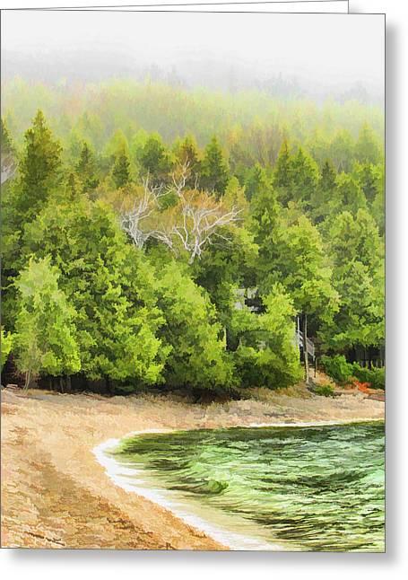 Foggy Beach Greeting Cards - Door County Pebble Beach Foggy Morning Greeting Card by Christopher Arndt