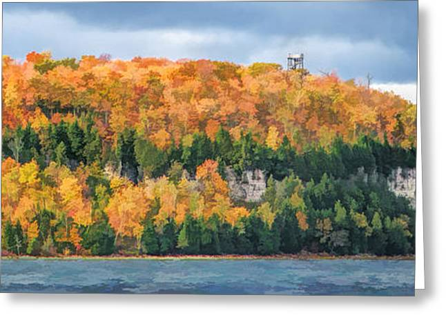 Observation Greeting Cards - Door County Peninsula State Park Bluff Panorama Greeting Card by Christopher Arndt